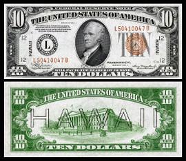 $10 Hawaii Overprint collectors note