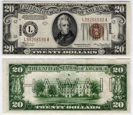 $20 Hawaii Overprint collectors note