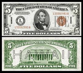 $5 Hawaii Overprint collectors note