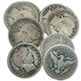 1892-1916 Barber Quarters (5 different dates)