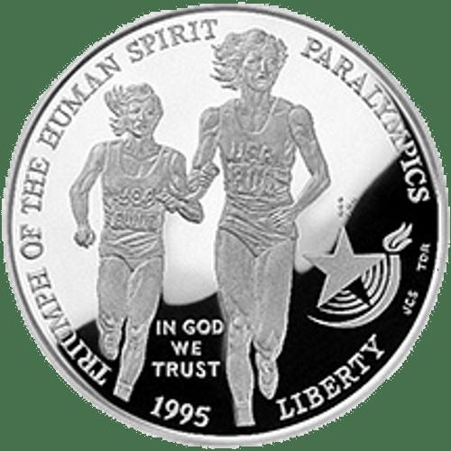 1995 XXVI Olympiad Paralympics Silver Dollar
