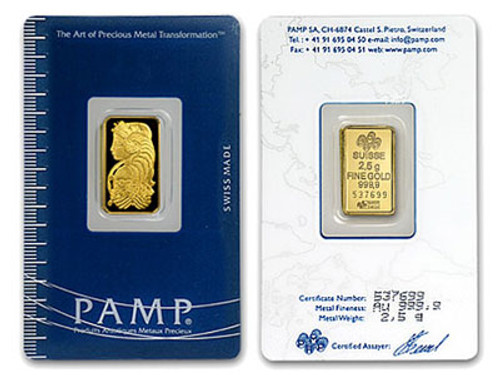 2.5 Gram Gold Bar (bar our choice) in pure gold bars