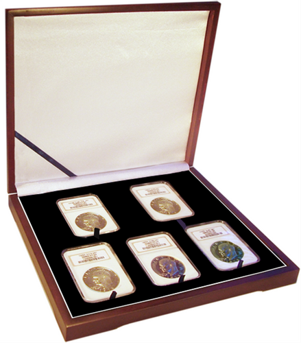 Five Coin Wood Display Box NGC or PCGS graded coins in coin collecting supplies