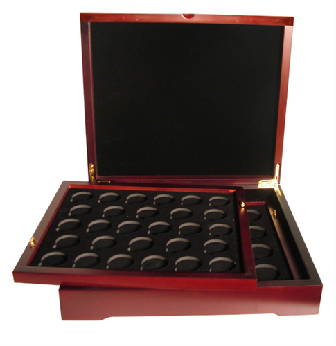 Coin supplies. Thirty Two Coin Wood Display Box for Silver Dollars