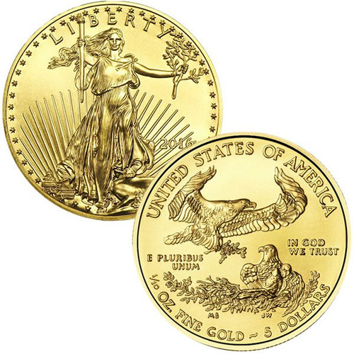 2016 ($5) Five Dollar American Gold Eagle obverse and reverse