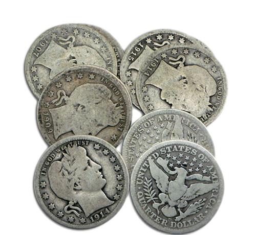 1892-1916 Barber Quarters (5 different dates)