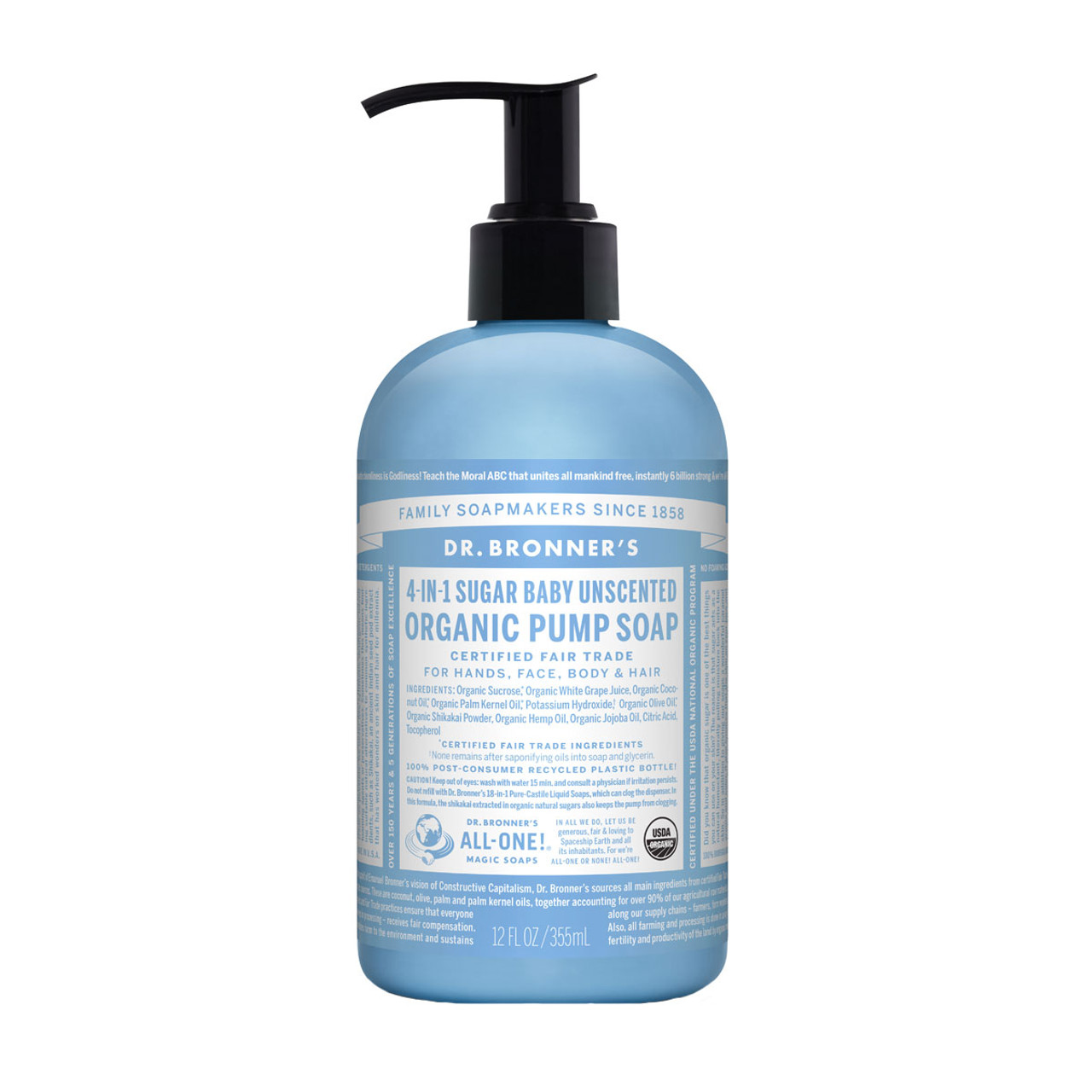 DR BRONNER'S 4-In-1 Organic Sugar Soaps Baby Unscented