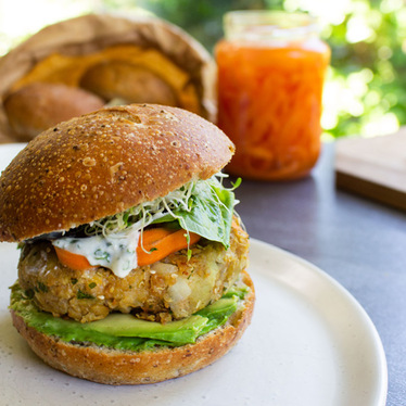 Vegan Chickpea Kumara Burger