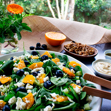 Baby Greens With Blueberries, Orange And Tahini Mustard Dressing
