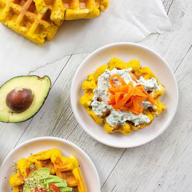 Pumpkin And Feta Savoury Waffles