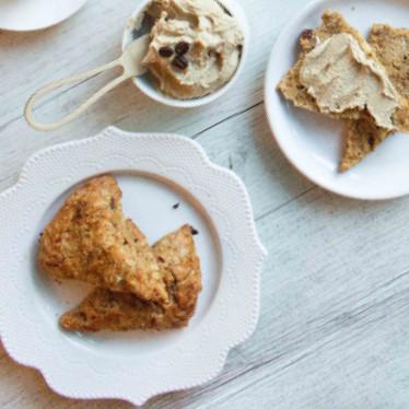 Vegan Date And Walnut Scones With Cashew Coffee Cream