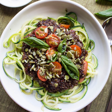 """Zoodle """"Pasta"""" with Quinoa Bolognese"""