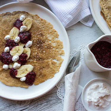 Crepes with Chia Berry Compote