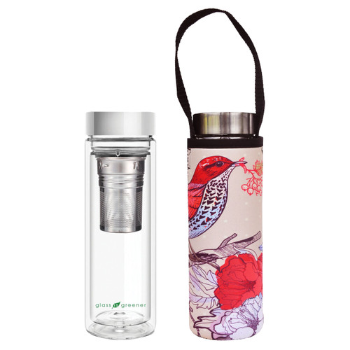 Glass is Greener Tea Flask + Carry Cover - Bird Print