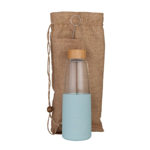Hand-Blown Glass Bottle - Cool Cyan