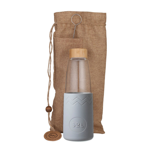 Hand-Blown Glass Bottle - Cool Grey