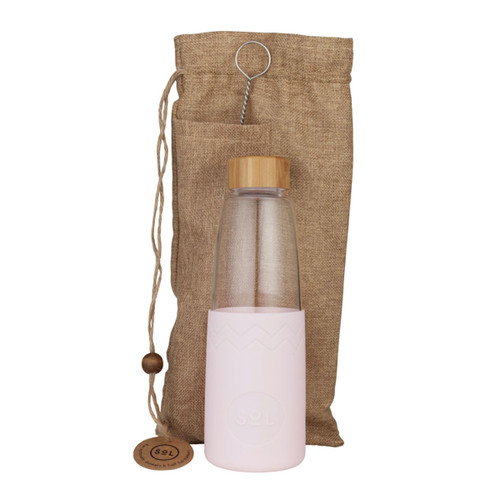 Hand-Blown Glass Bottle - Perfect Pink