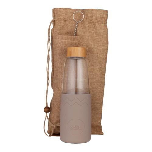 Hand-Blown Glass Bottle - Seaslide Slate