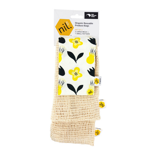 Organic Cotton Produce Bags - Kowhai Flower