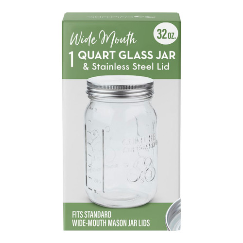Wide Mouth Glass Jar & Stainless Steel Lid