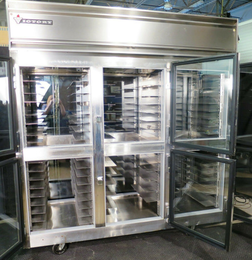 Victory Commercial  3 Section Glass Door Pass-Thru Refrigerator