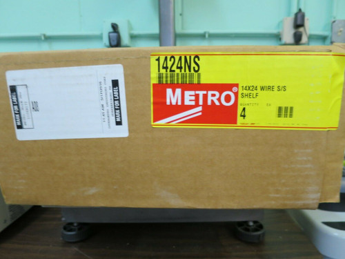 "Stainless Steel Wire Shelf - Metro 1424NS Super Erecta 14"" x 24"" - Four Shelves"
