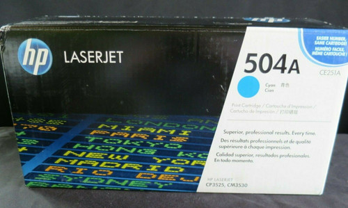 HP CE251A 504A Cyan Toner Color LaserJet CP3520 CP3525 CP3530 Genuine Sealed