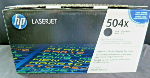 GENUINE HP 504X Black HIGH YIELD Toner Cartridge (CE250X) CP3525 CM3530