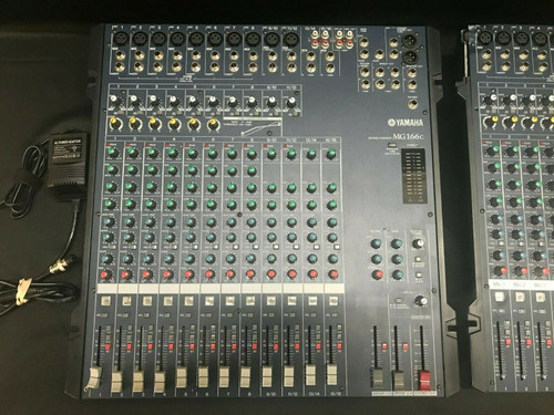 Lot of 2 Yamaha MG 166c Analog Non-Powered Audio Mixers w AC Cord - 1 for Parts