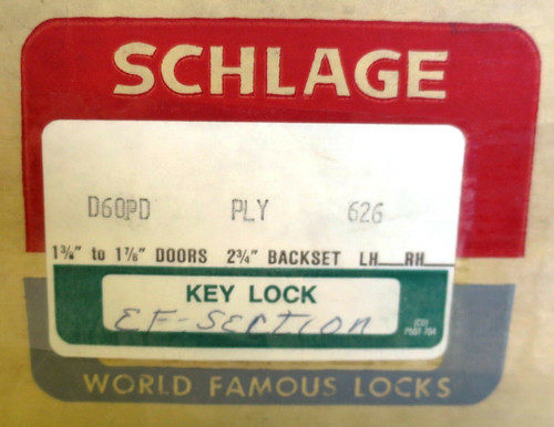 Schlage Commercial D60PD PLY 626 Lock Cylindrical Lock Satin Chrome