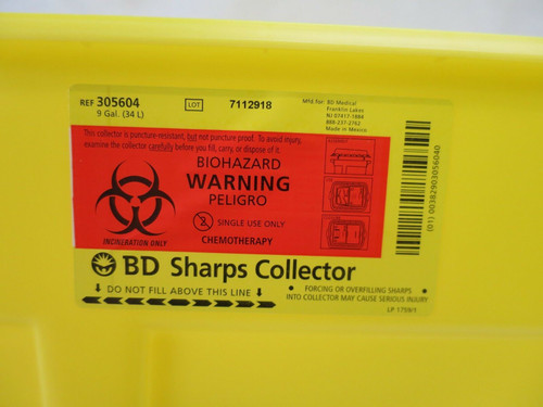 9 Gallon BD Chemotherapy Extra Large Sharps Container Collector 1 Case of 8