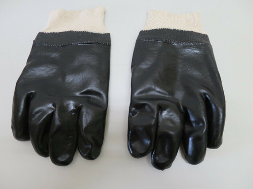 Midwest Gloves PVC Coated Chemical Resistant Gloves Large Black 710- No tags