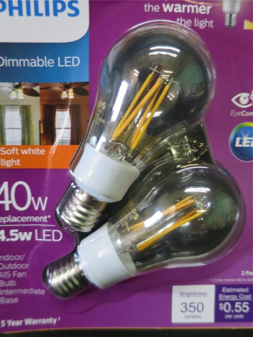Philips Warm Glow 40W/4.5W Dimmable LED A15 Fan Bulb Intermediate Base 2 Pack