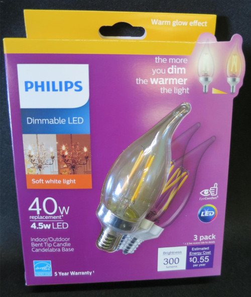 Philips Warm Glow 40W/4.5W Dimmable LED Bent Tip Candle  Candelabra Base 3 Pack