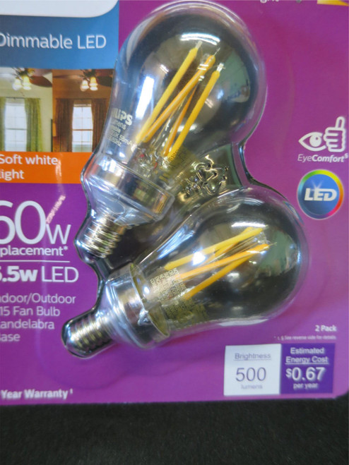 Philips Warm Glow 60W/5.5W Dimmable LED Fan Bulb Candelabra Base 2 Pack