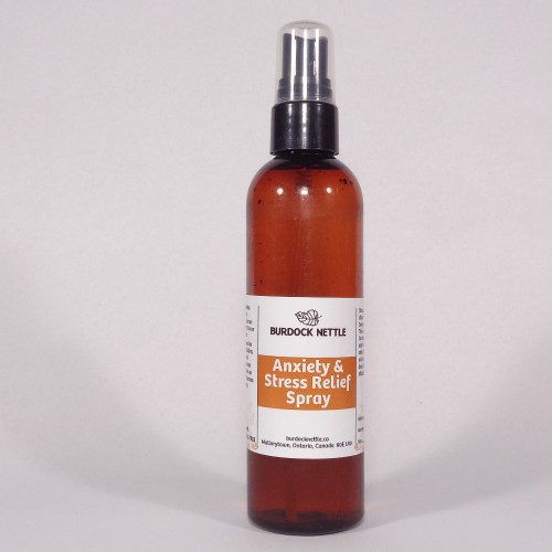 118 ml bottle of all-natural plant based anxiety and stress relief spray for families and pets