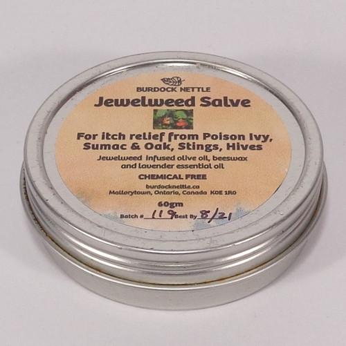 67-gram container of Jewelweed salve. Natures antidote to poison ivy, sumac and oak. Relieves itch