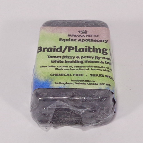 Bar of charcoal infused all-natural braiding wax for dark haired horses.