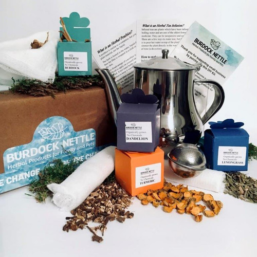Do it yourself kit with herbs and instructions to make infused tea, decoctions, compresses and poultices