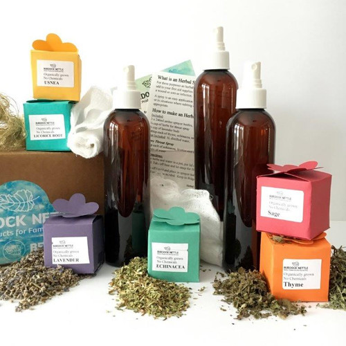 DIY kit with herbs and instructions to make three bottles of natural, chemical free, healthy sprays