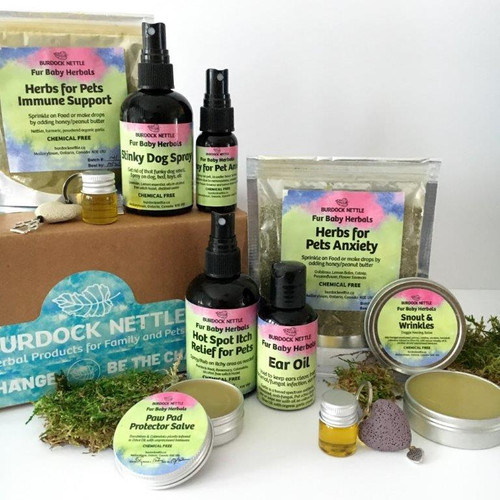 A box with nine hand-crafted, natural pet care products