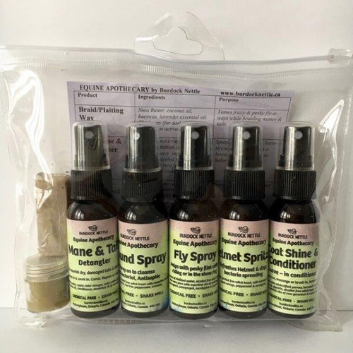 Sample pack of chemical free, horse grooming products