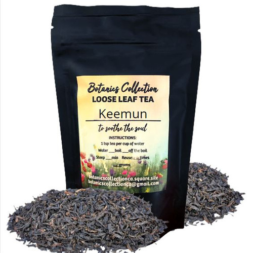 """Award winning Chinese Black tea.  Keemun Black Tea is an exquisite black tea from the southern Anhui province in China. It wins the praise of """"one of the best three high aroma teas in the world"""" and """"the queen Of fragrance"""" in China.  Of all the black teas that China produces, Keemun is perhaps the most well-known.  Keemun has gained a reputation for an indescribable flavor, with hints of smoky pine, orchid, crushed apple and a rich sweet taste"""