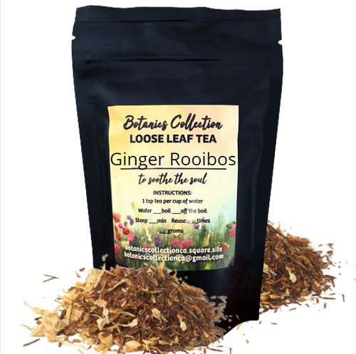 Ginger and calendula petals mixed with Rooibos create this herbal that may be enjoyed as a gingery beverage or as a cold and flu tonic.
