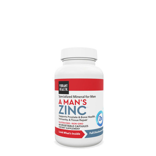 The male prostate gland contains and uses more zinc than any other tissue. Zinc arginate has specific affinity for prostate tissue. A Man's Zinc also provides plant sterols, known to support healthy prostate function.  Supports healthy prostate function Supports immunity and bone health