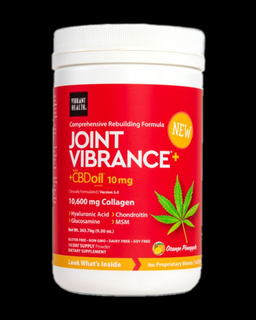 Joint Vibrance provides the nutrients that cartilage-building cells need for the construction of new cartilage, and for the synthesis of hyaluronic acid. In addition, carefully selected ingredients help reduce pain and inflammation.  10,600 mg of Collagen per serving Comprehensive joint health support Aids in rebuilding cartilage Provides antioxidants and pain management support