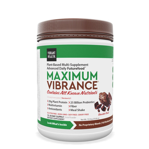 Maximum Vibrance is known as a Futurefood™ because it contains all the benefits of a green superfood plus high antioxidant fruits and vegetables, a meal's worth of plant protein, 25 billion probiotics, and an organic, plant-based multivitamin. It delivers the energy you need to conquer the day. One scoop for a healthy snack, two for a nutritious meal. Multivitamin, green food, and antioxidant supplement 20 grams of protein per serving 25 billion probiotics per serving