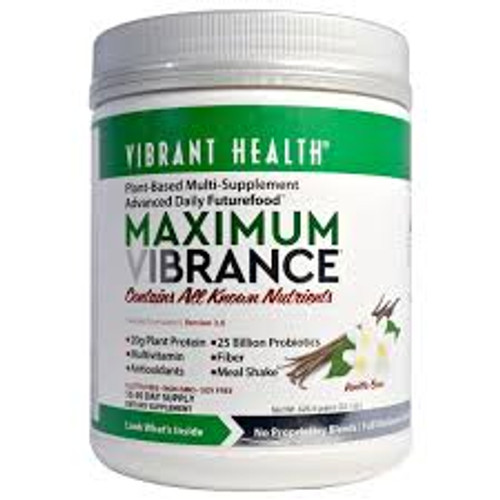 Plant-Based Superfood, Meal or Snack Rich with Vitamins, Minerals, Antioxidants + Protein.  Maximum Vibrance is known as a Futurefood™ because it contains all the benefits of a green superfood plus high antioxidant fruits and vegetables, a meal's worth of plant protein, 25 billion probiotics, and an organic, plant-based multivitamin. It delivers the energy you need to conquer the day. One scoop for a healthy snack, two for a nutritious meal. Multivitamin, green food, and antioxidant supplement 20 grams of protein per serving 25 billion probiotics per serving