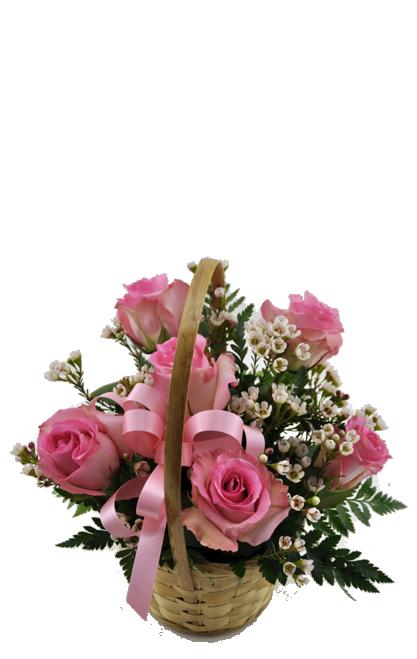Flower Rose Basket (6 roses)