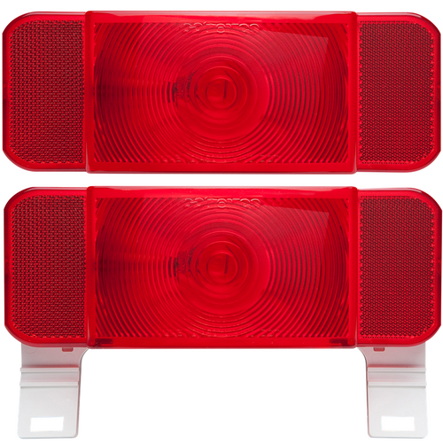 Set of Optronics RV Camper Trailer Tail Lights License Plate Stop Turn Brake White